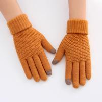 Перчатки шерстяные сенсорные зимние женские оранжевый цвет