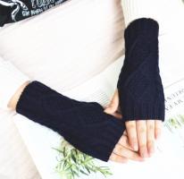 Митенки, перчатки без пальцев вязаные, темно-синий цвет