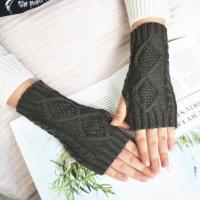Митенки, перчатки без пальцев вязаные, темно-серый цвет