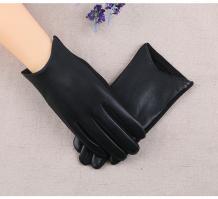 Теплые перчатки для сенсорных экранов, кожзам, черный цвет