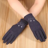 Перчатки женские теплые зимние, для сенсорных экранов, темно-синий цвет_0