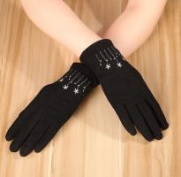 Перчатки женские теплые зимние, для сенсорных экранов, темно-синий цвет_4