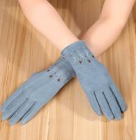 Перчатки женские теплые зимние, для сенсорных экранов, голубой цвет_0