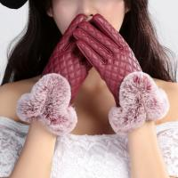 Перчатки кожзам, с мехом кролик Рекс, красивые и теплые, бордо цвет