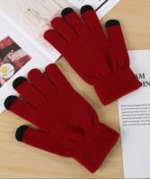 Перчатки утепленные зимние, с сенсорным покрытием, бордо_0