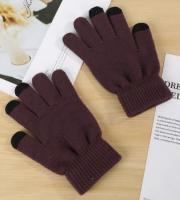 Перчатки утепленные зимние, с сенсорным покрытием, кофейные