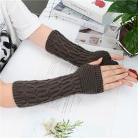 Митенки, перчатки без пальцев вязаные удлиненные цвет серый